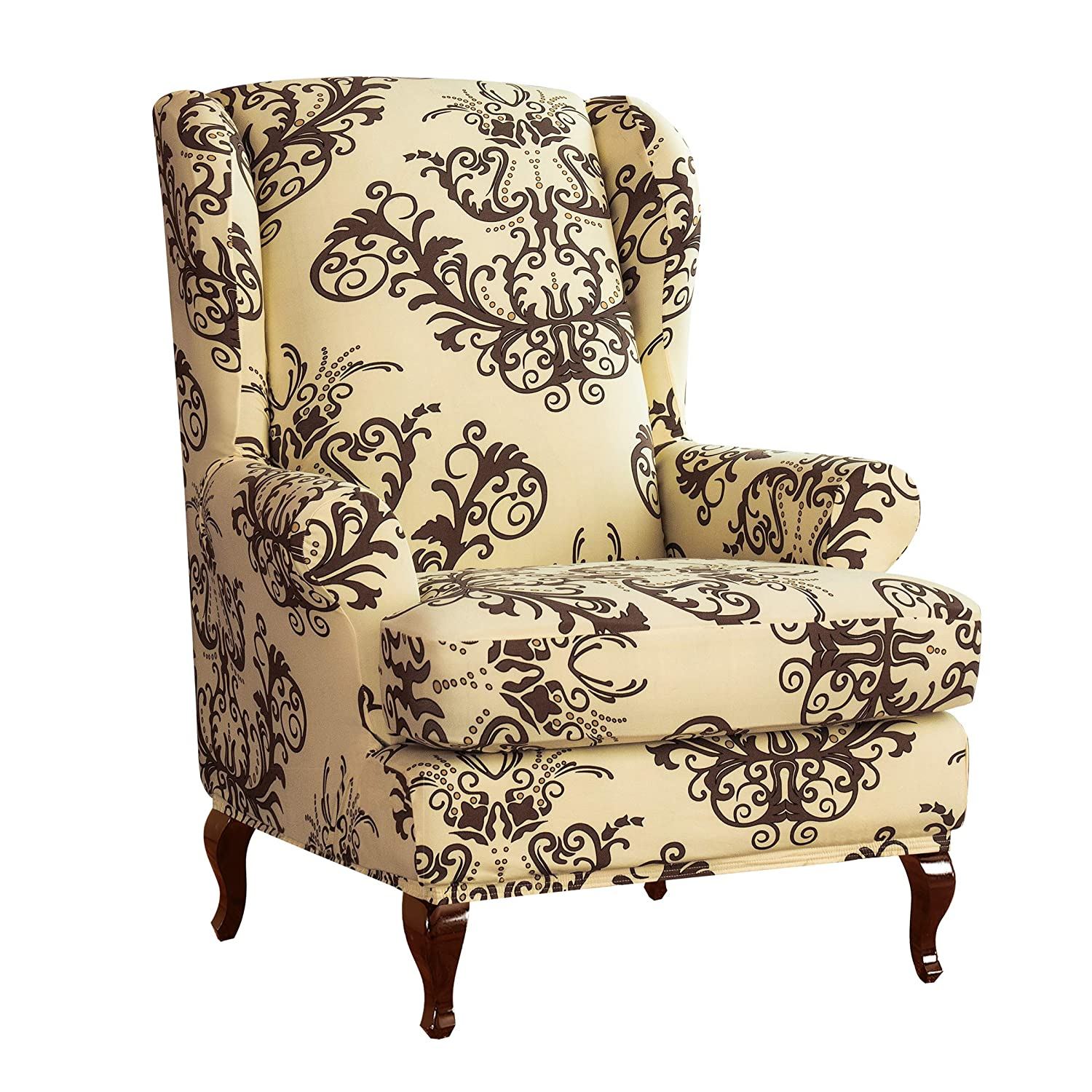 Fantastic Subrtex Spandex Universal Wing Back Armchair Covers Floral Printed Chair Slipcovers Furniture Protector Coffee Pdpeps Interior Chair Design Pdpepsorg