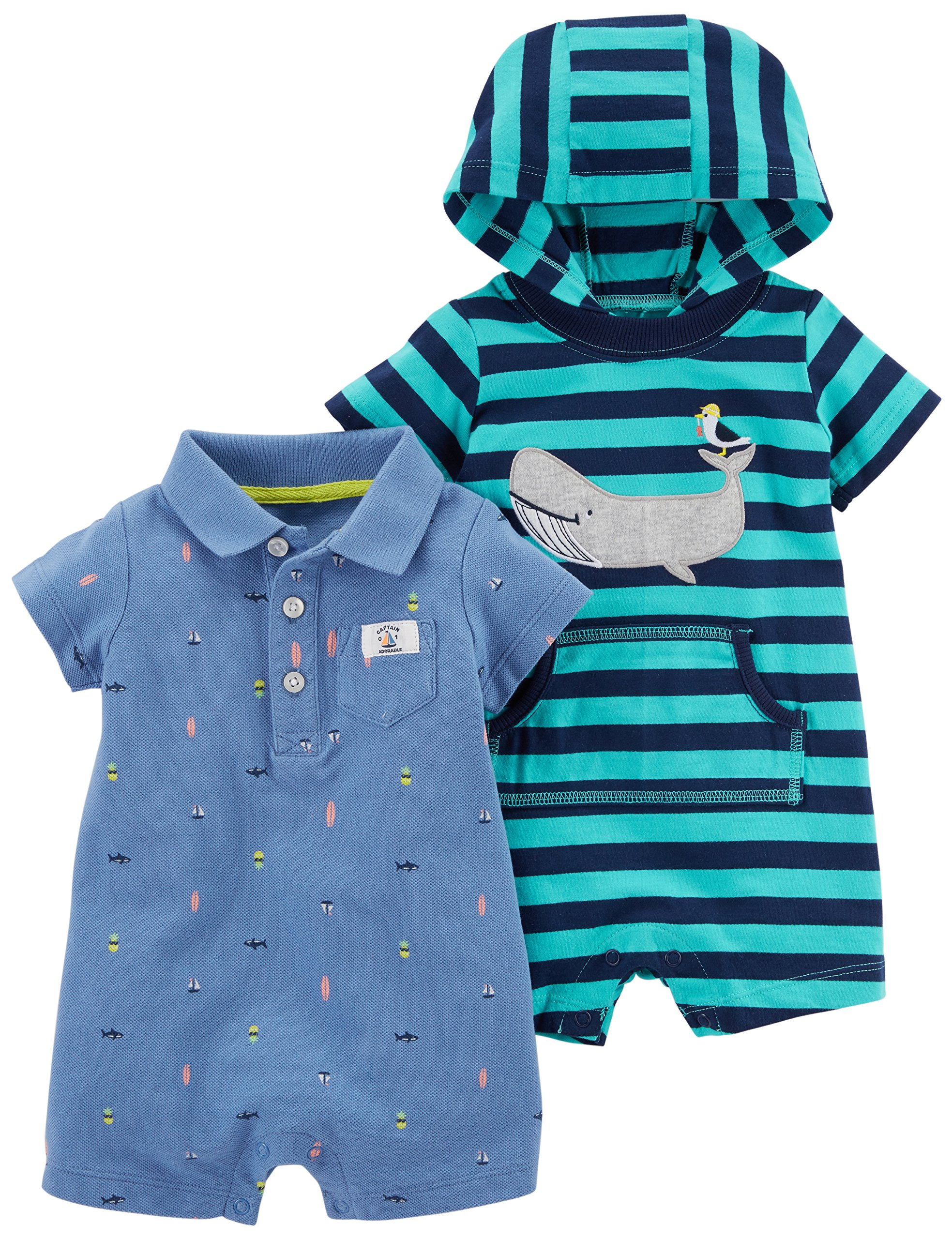 Carter's Baby Boys' One Piece Rompers (Pack of 2)