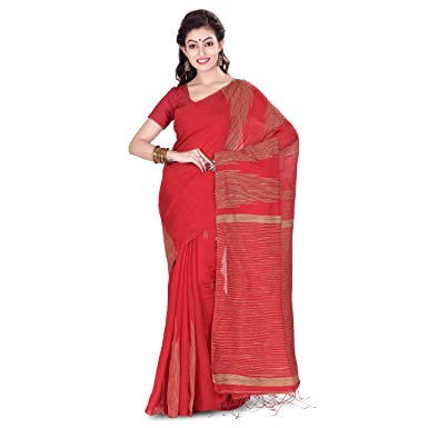 ea90cef2f6bca3 Image Unavailable. Image not available for. Colour  Wooden Tant Silk Ghicha  Saree In Red With Blouse Piece