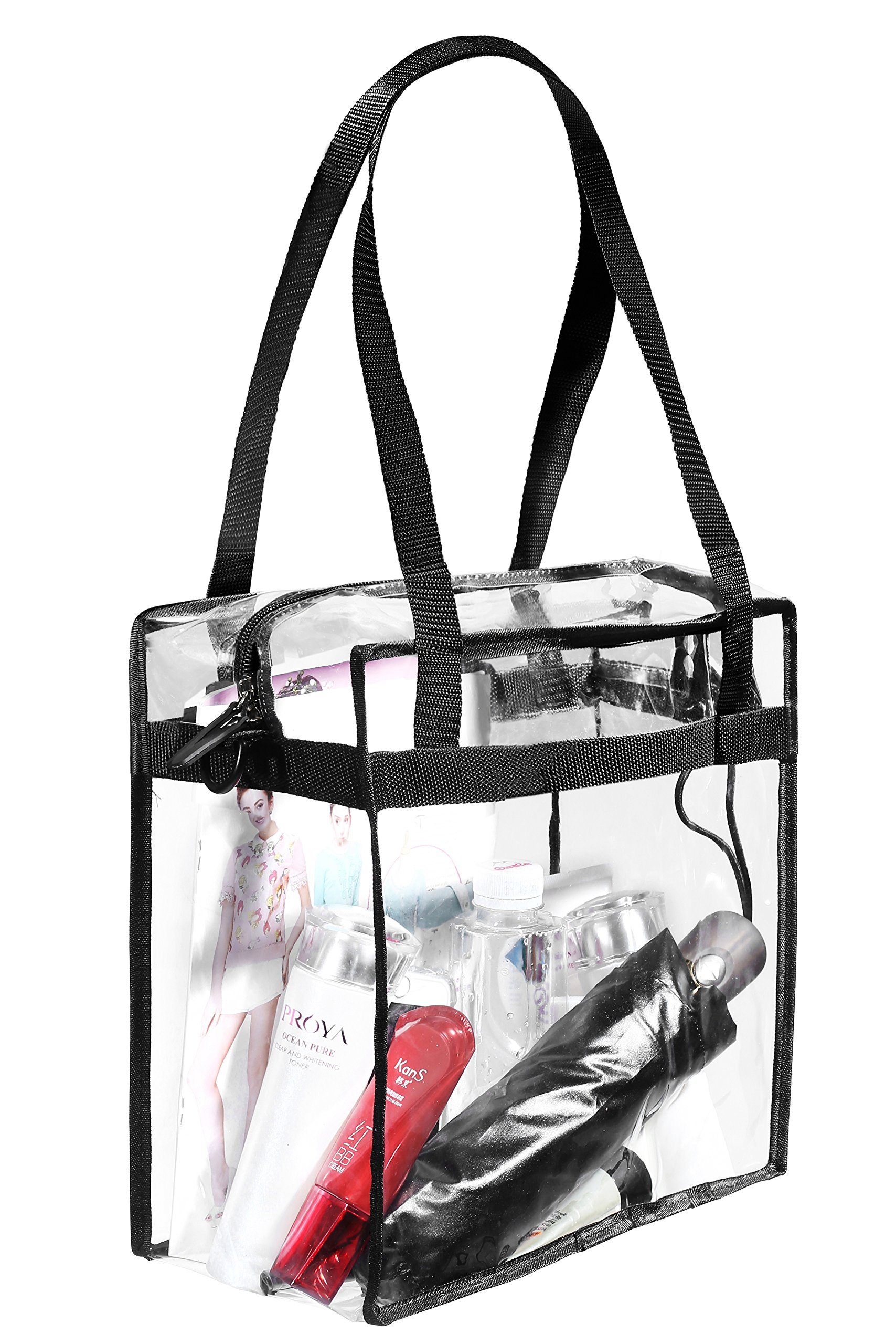 "Clear Bags NFL & PGA Stadium Approved - The Clear Tote Bag with Zipper Closure is Perfect for Work, Sports Games.Cross-Body Messenger Shoulder Bag w Adjustable Strap -12"" X 12"" X 6"" (Two Bag) by BAGAIL (Image #4)"