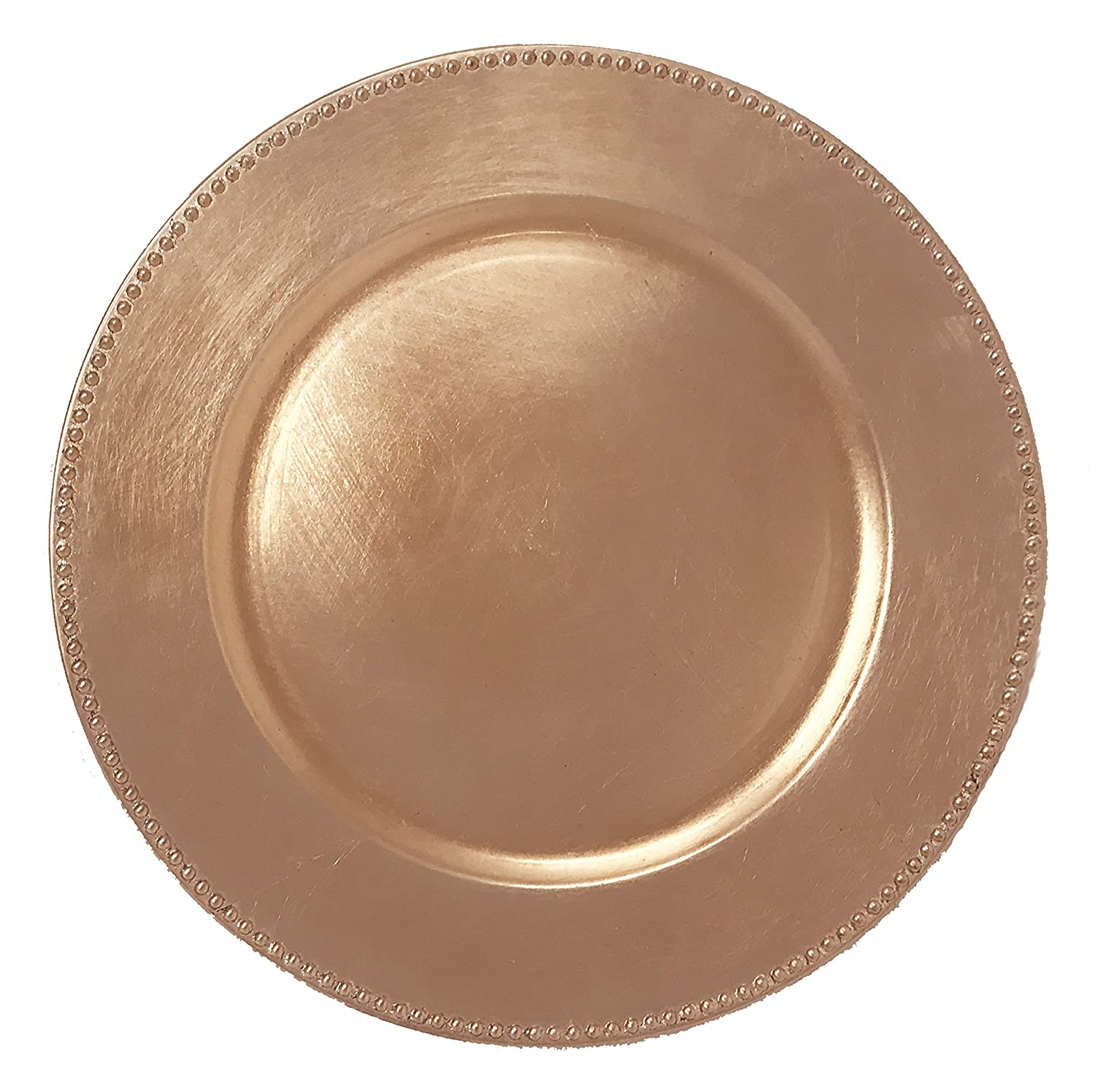 AK-Trading - Set of 12, Premium Finest Quality Party Plate Chargers, 13-Inch Round, Copper Brushed Design AK TRADING CO.