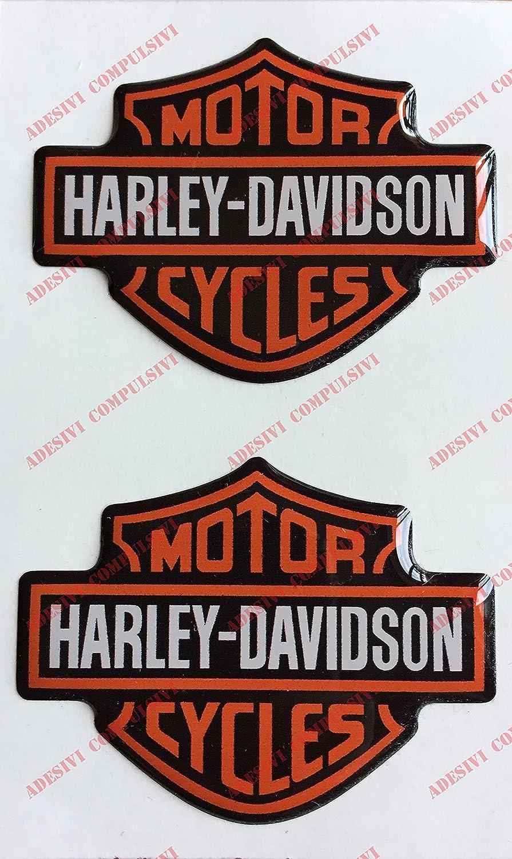 Stemma logo decal HARLEY DAVIDSON, coppia adesivi resinati, effetto 3D. Per SERBATOIO o CASCO Adesivi Compulsivi