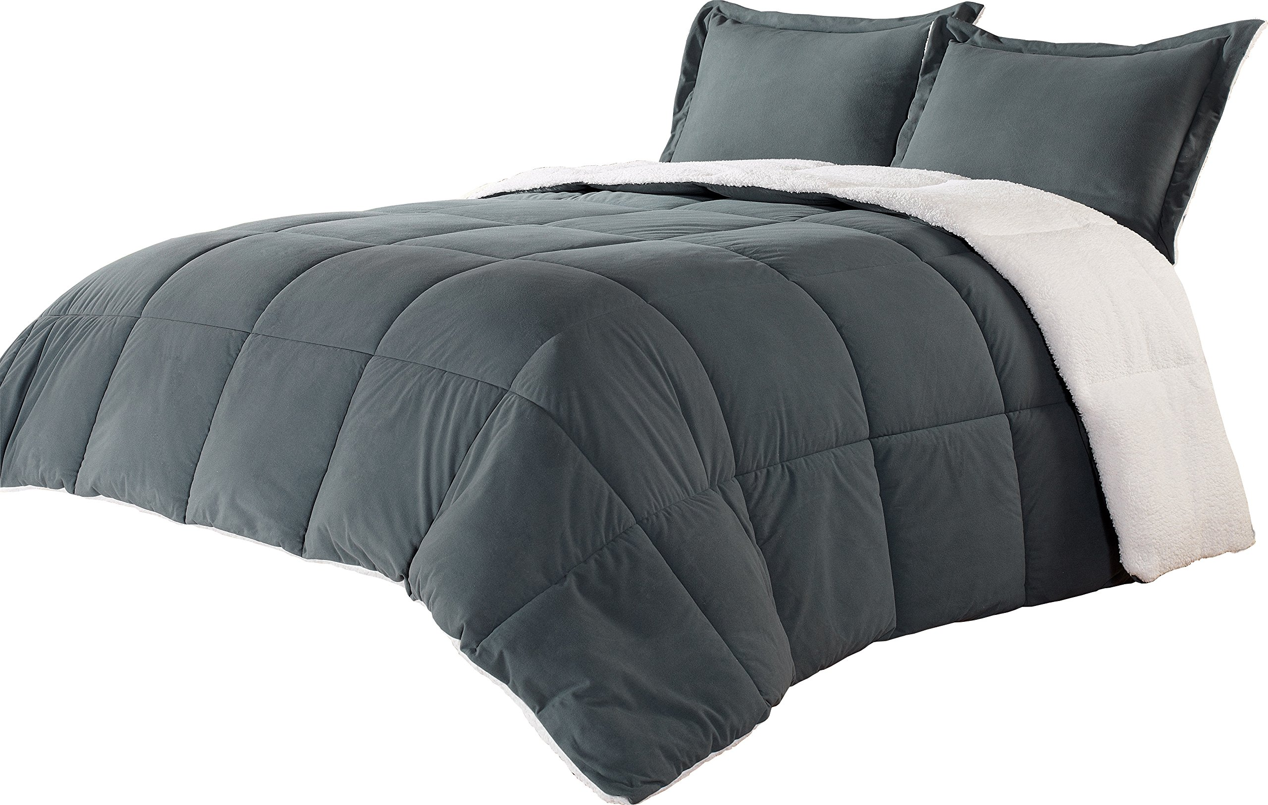 Borrego Twin Size 2pc Comforter Set Grey Sherpa Blanket Super soft down alternative Bed Cover Set