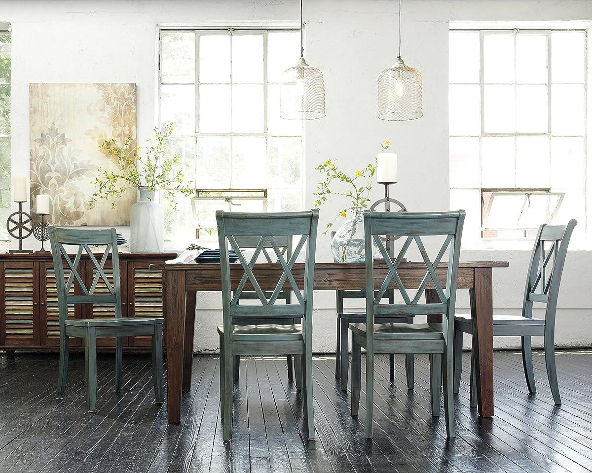 Ashley Furniture Signature Design - Mestler Dining Room Side Chair - Wood Seat - Set of 2 - Antique Blue