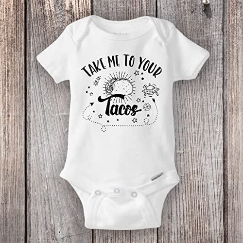 6fa78d1d5 Amazon.com: Space Taco Onesie®, Cute and Funny Baby Clothes, Alien Outer  Space Onesie - Take Me To Your Tacos: Handmade