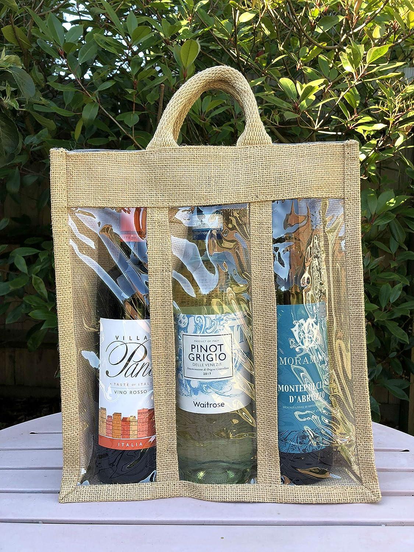 3 Bottle Wine Carrier Bag Jute Burlap with Windows Eastern Thread Mill