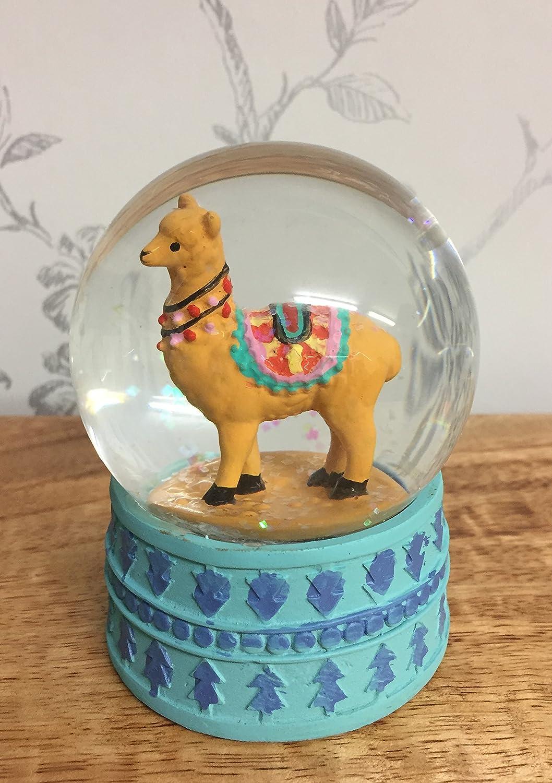 Alpaca Glitter Snow Globe Waterball with Blue Base ~ Brown Mezzaluna Gifts