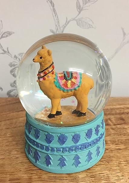 Mezzaluna Gifts Alpaca con Purpurina Bola de Nieve de Elefante con Azul Base ~ marrón