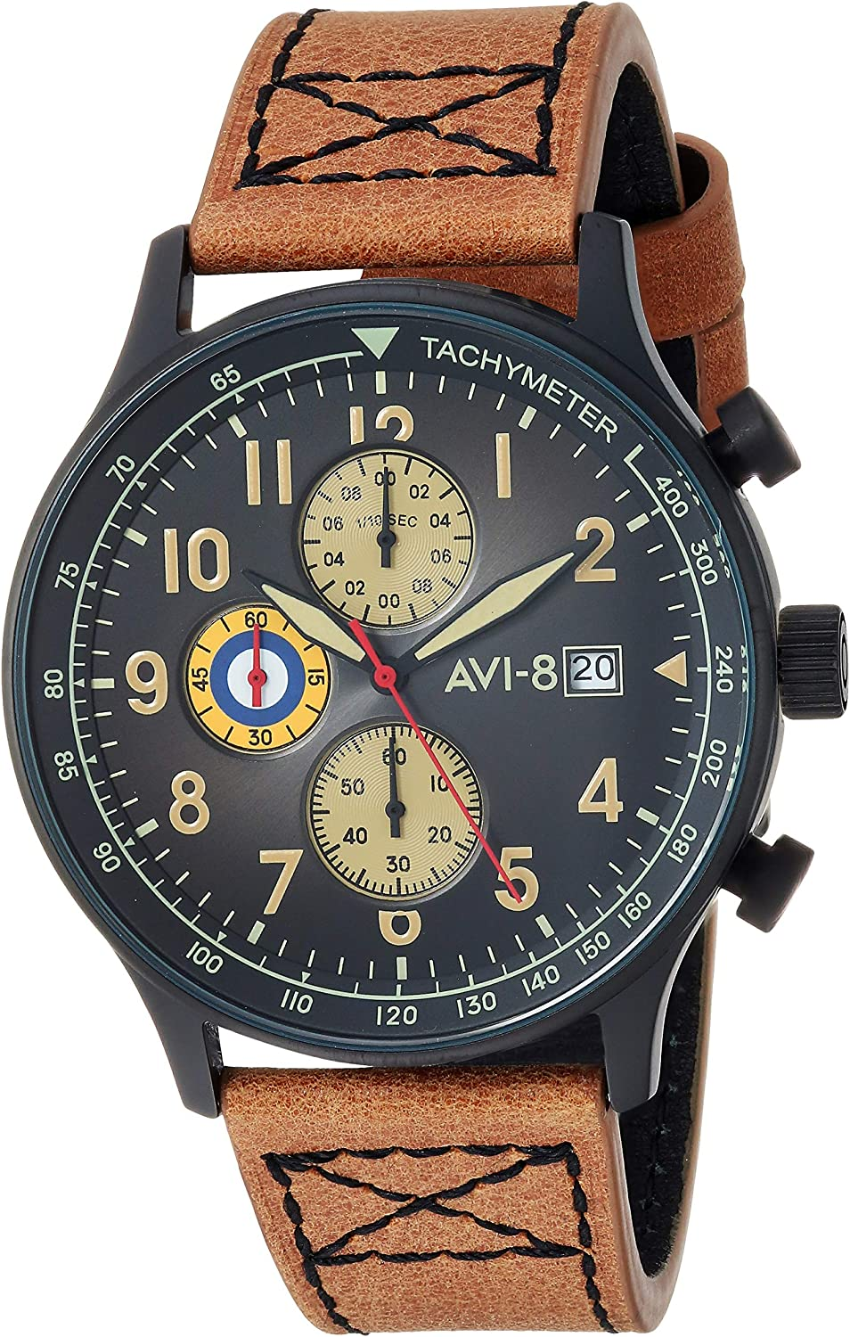 AVI-8 Men's Hawker Hurricane Analog Display Japanese Quartz Watch with Leather Band