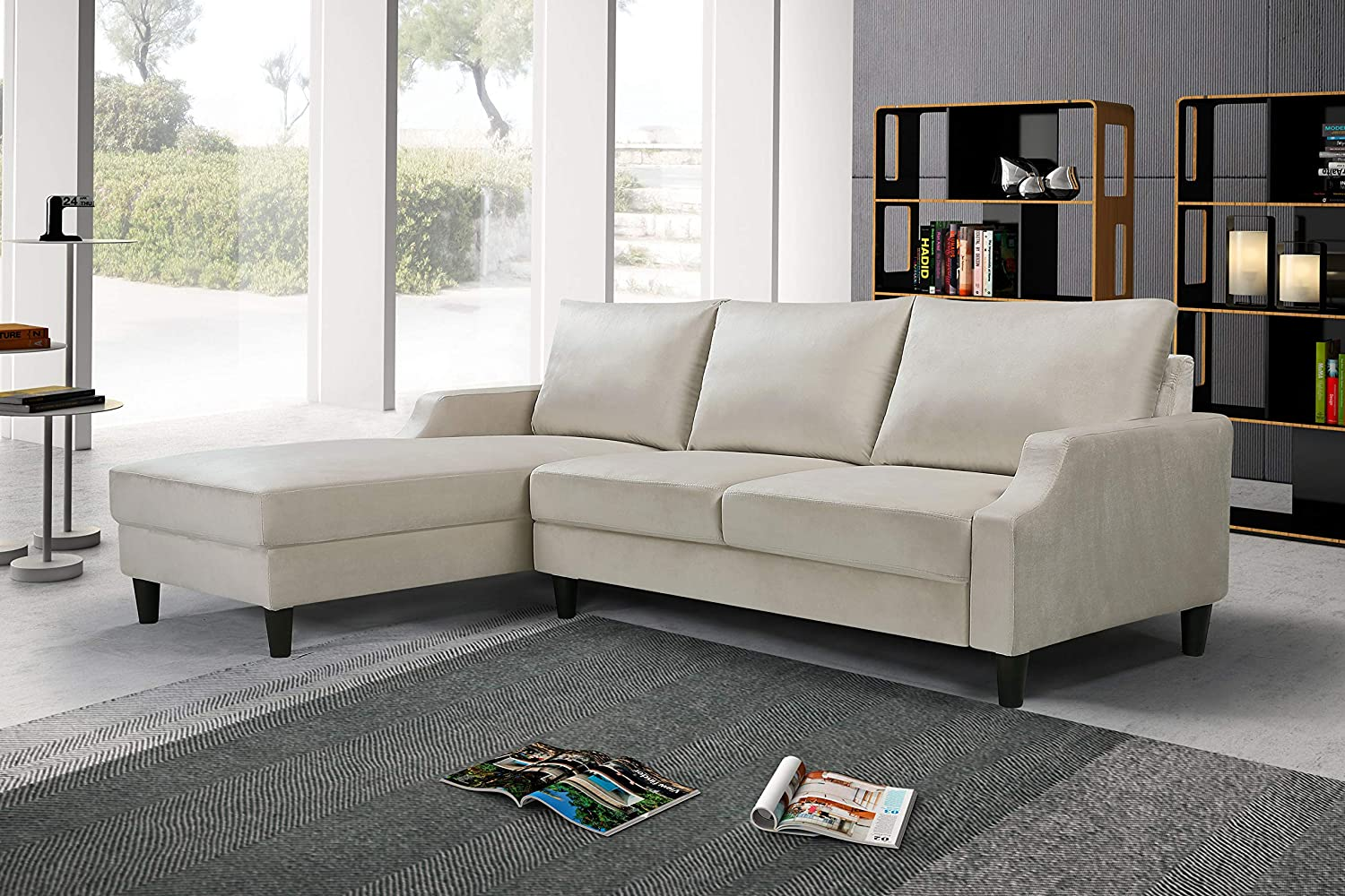 US Pride Furniture S0161-L Iduna Laucas Modern Large Velvet Sectional, L-Shape Sofa with Wide Chaise Lounge, Ivory