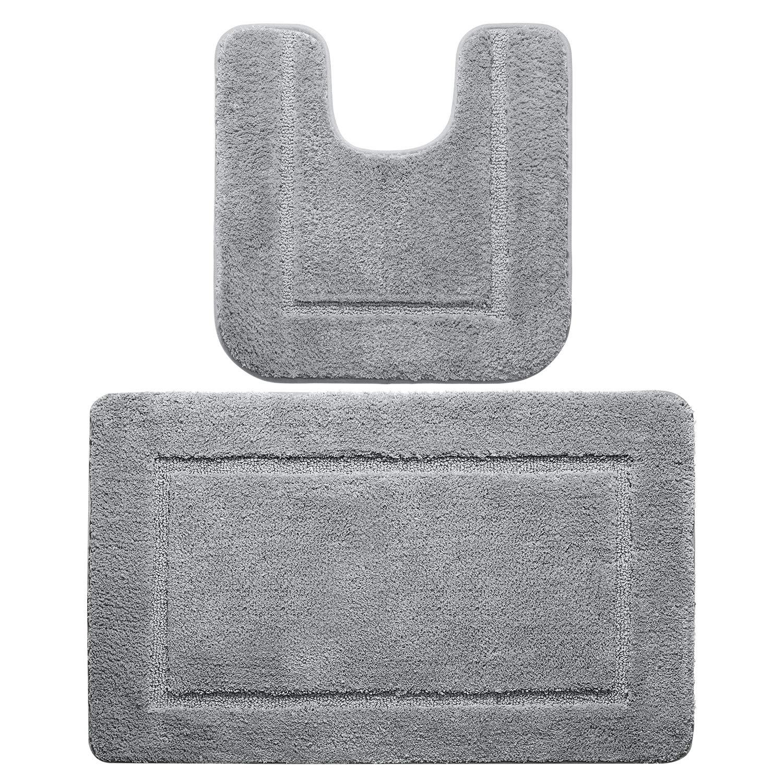 LOCHAS Microfiber 2-Piece Bath Rug Set, Shaggy Absorbent Bathroom Rugs Carpets 34''x20'' & Non Slip Contour Toilet Mat 20''x20'', Machine Washable Rugs for Shower, Grey
