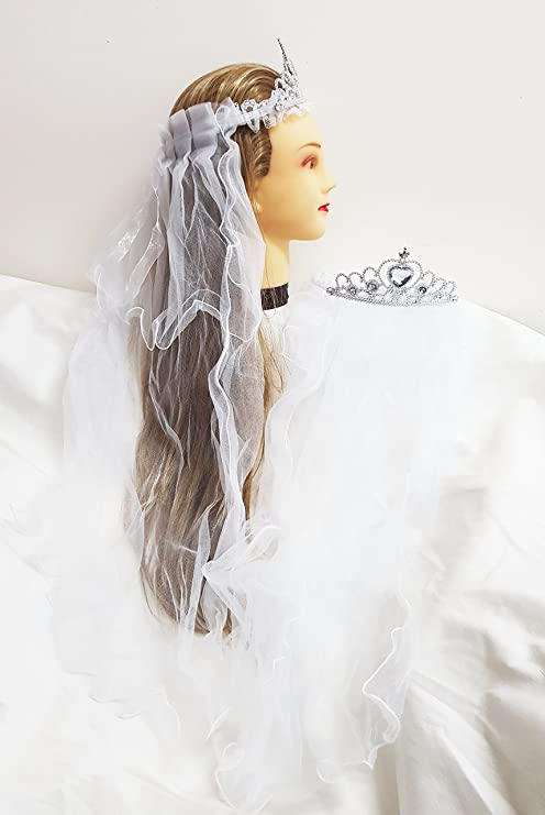 takestop® Corona DIADEMA Bianco CORONCINA con Velo Nastro Principessa Sposa  Addio al Nubilato Matrimonio Wedding 52fcd3c20125