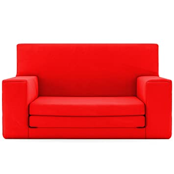 2 In 1 Childrens Sofa Bed In Flaming Red With Memory Foam Blend U2013 Super Soft