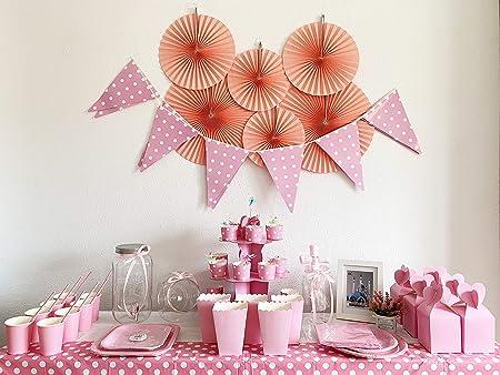 Kit de Fiesta Completo:Vajilla desechable+Bandeja Rosa+Caja de palomita+Caja de Regalo+Decoración para Primera Comunión Niña,Bautizo,Baby Show y ...