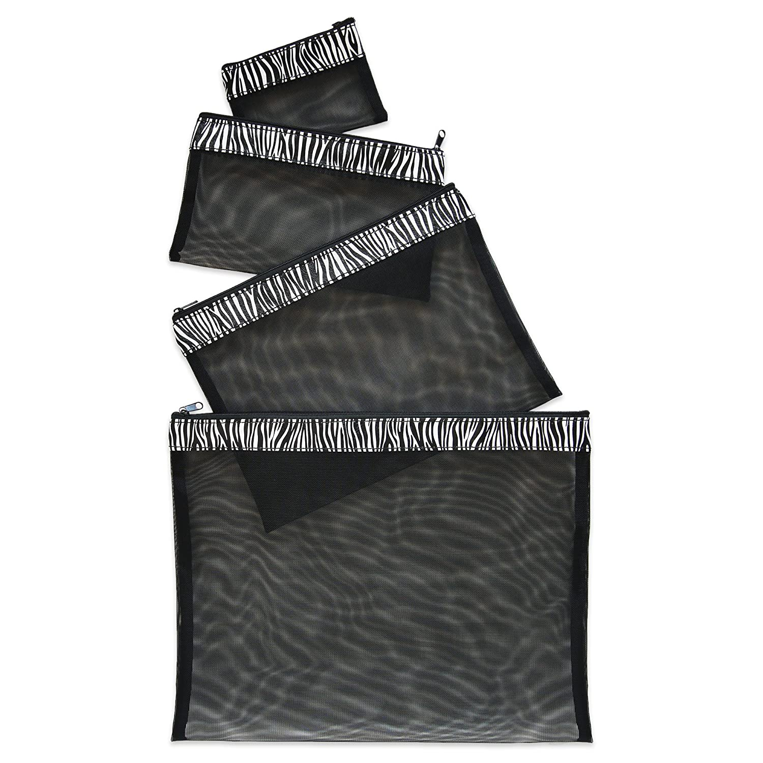 Multi Purpose 4 Piece Mesh Bag Set for Travel, Office Supplies, Cosmetic, Paper, Bill and Credit Card Bag (Zebra)