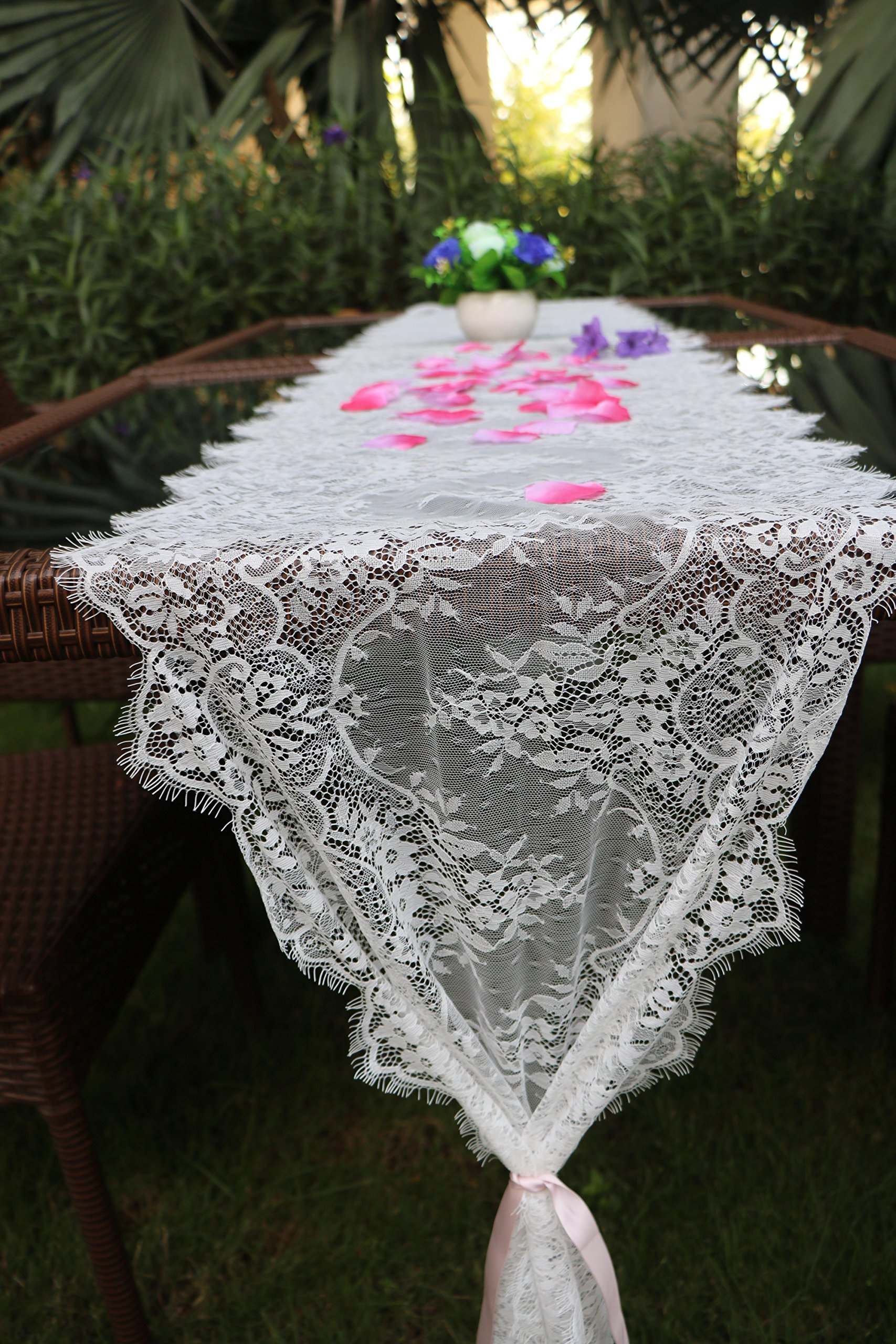 sweet dream White Lace Classic Table Runner 10Ft 16x120inches for Wedding Party, Birthday Party, Boho Party Decor, Baby Shower Bridal Shower Vintage Rustic