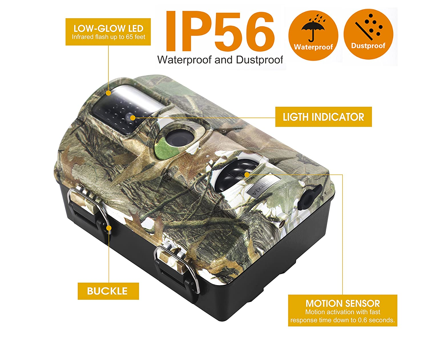 Amazon.com: Trail Camera Vizzlema 12MP Wildlife Hunting Camera Game Camera Motion Activated 65ft Long Range No Glow Infrared Night Version with 2.4in LCD ...