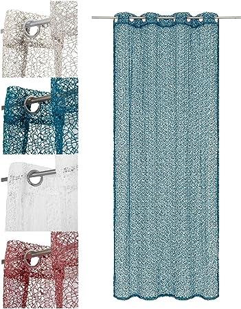 Wometo Vorhang Gardine Schal In ösen Netz Strick Optik 140x245 Cm Petrol Blau Türkis Einfarbig Gehäkelt Transparenthalbtransparent In Vielen