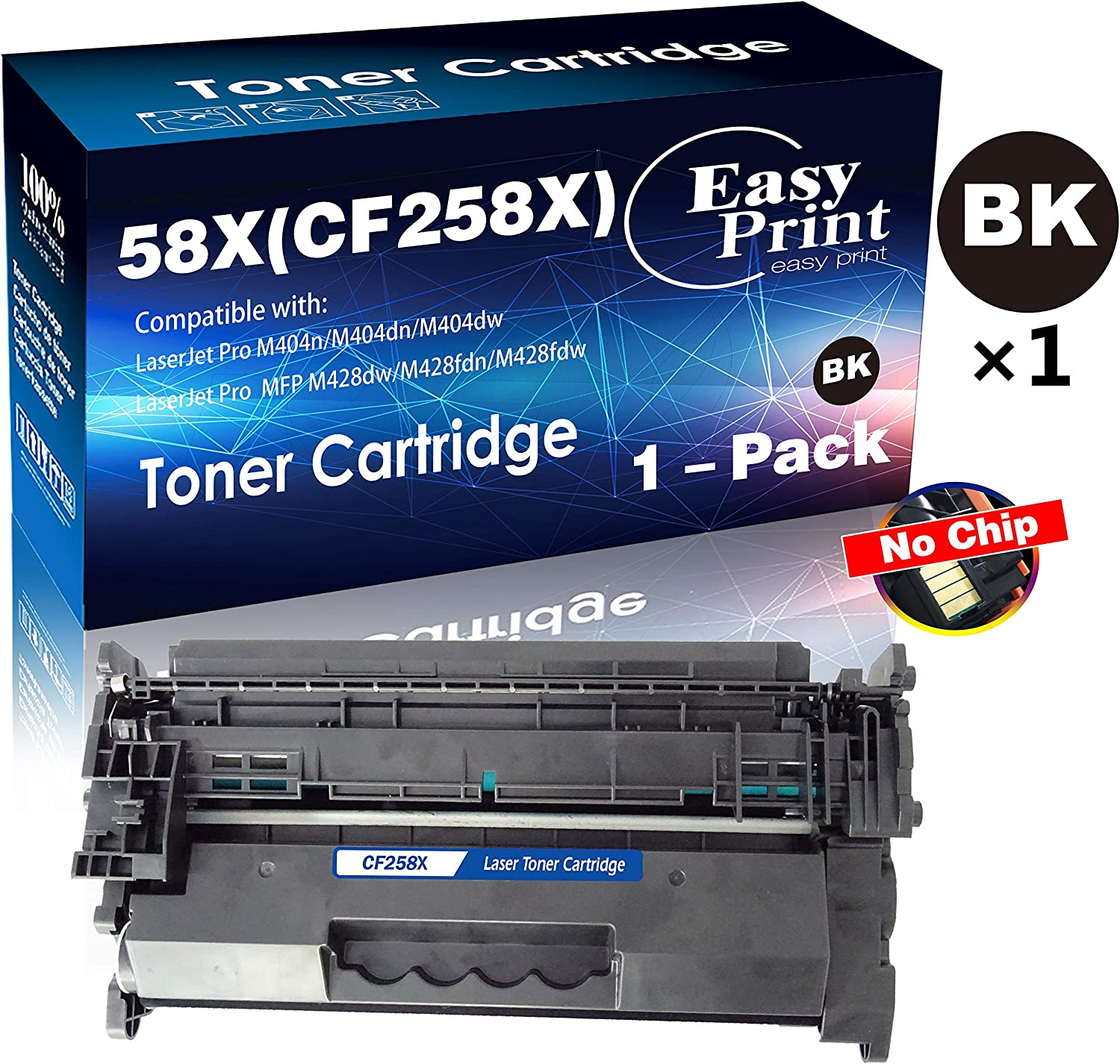 Compatible (1-Black, High Yield) 58X CF258X Toner Cartridge 58A CF258A Used with HP Laserjet Pro M404n M404dn M404dw MFP M428fdw M428dw M428fdn No Chip, by EasyPrint
