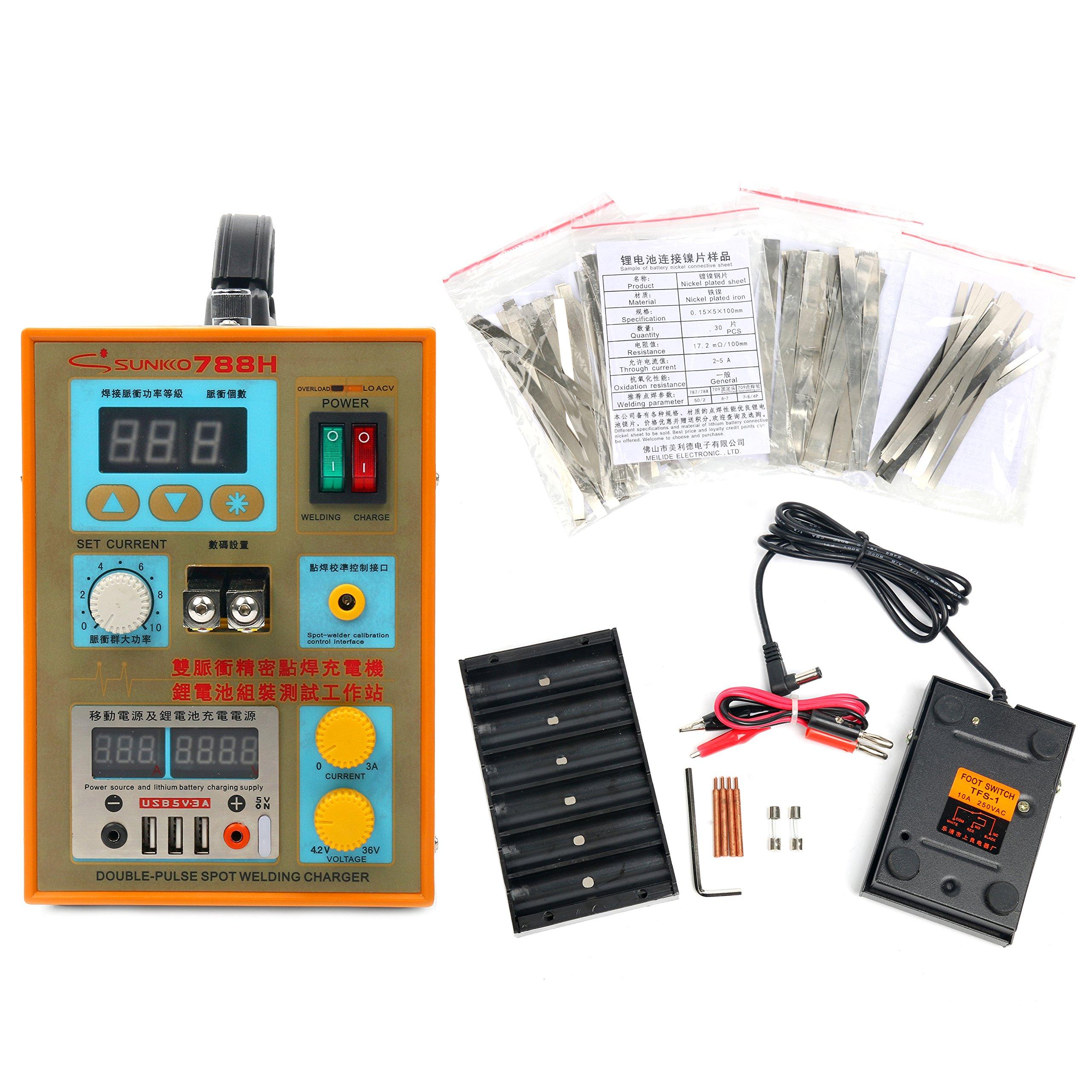 SUNKKO S788H-USB Preciston pulse spot welder+CC-CV Charge+Power bank test