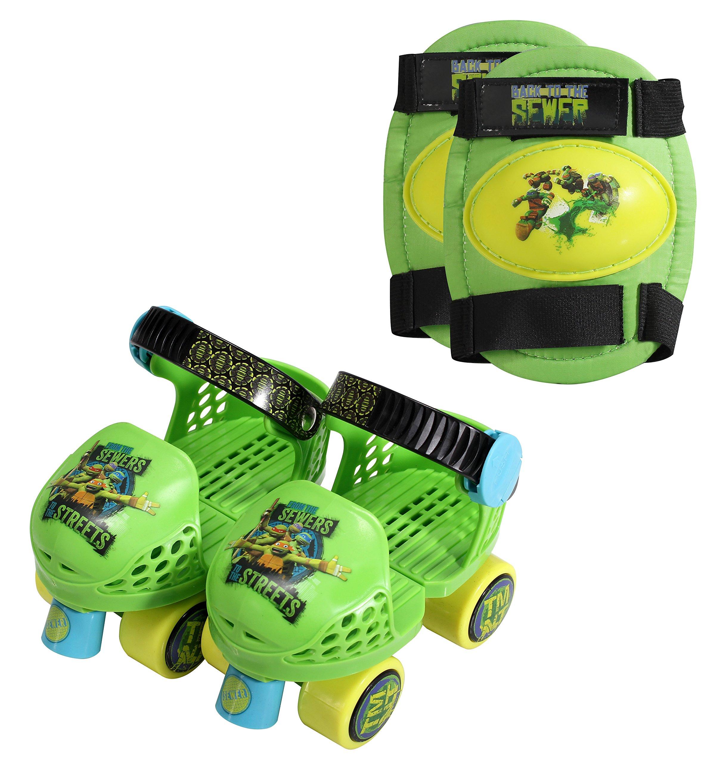 PlayWheels Teenage Mutant Ninja Turtles Roller Skates with Knee Pads, Green/Black, Junior Size 6-12
