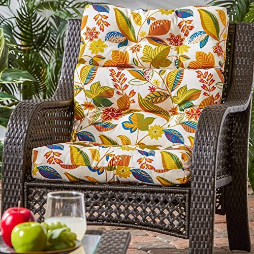 3-Section Outdoor Floral High Back Chair Cushion - a good cheap outdoor chair cushion