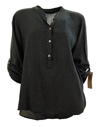 Moda Italy Damen Bluse Tunika Longbluse mit Punkten Rauten Flowers Lässige Bluse  Fischerhemd Polka Dots edd344d880