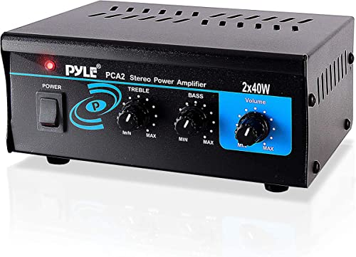 Home Audio Power Amplifier System 2X40W Mini Dual Channel Sound Stereo Receiver Box w LED For Amplified Speakers, CD Player, Theater via 3.5mm RCA for Studio, Home Use Pyle PCA2