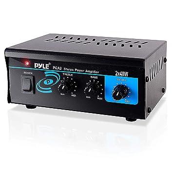 Pyle PCA2 2.0 Hogar Alámbrico Negro - Amplificador de audio (2.0 canales, 40 W