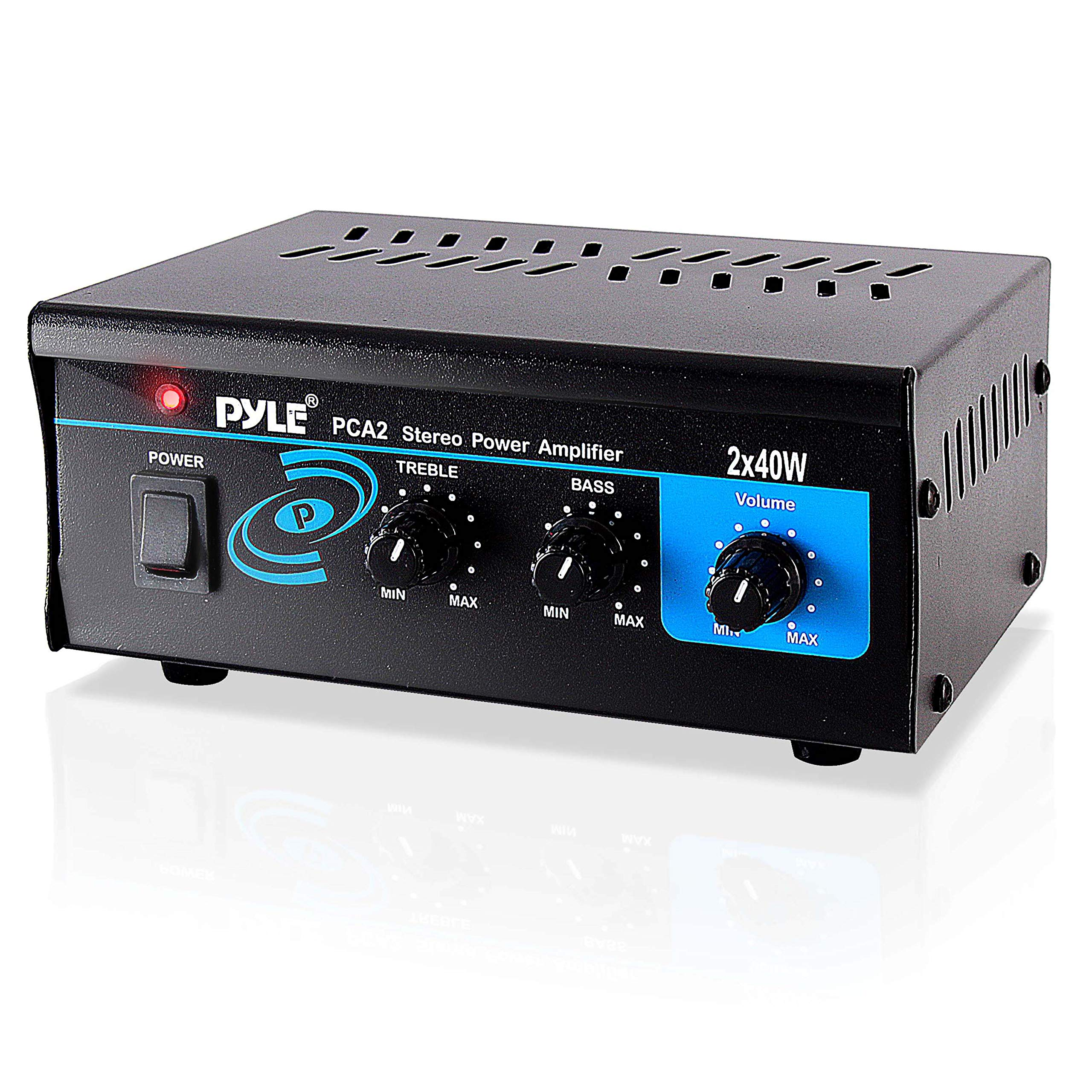 Home Audio Power Amplifier System - 2X40W Mini Portable Dual Channel Surround Sound Stereo Receiver Box w/ LED - For Amplified Subwoofer Speakers, CD DVD Player, Theater via 3.5mm RCA - Pyle PCA2