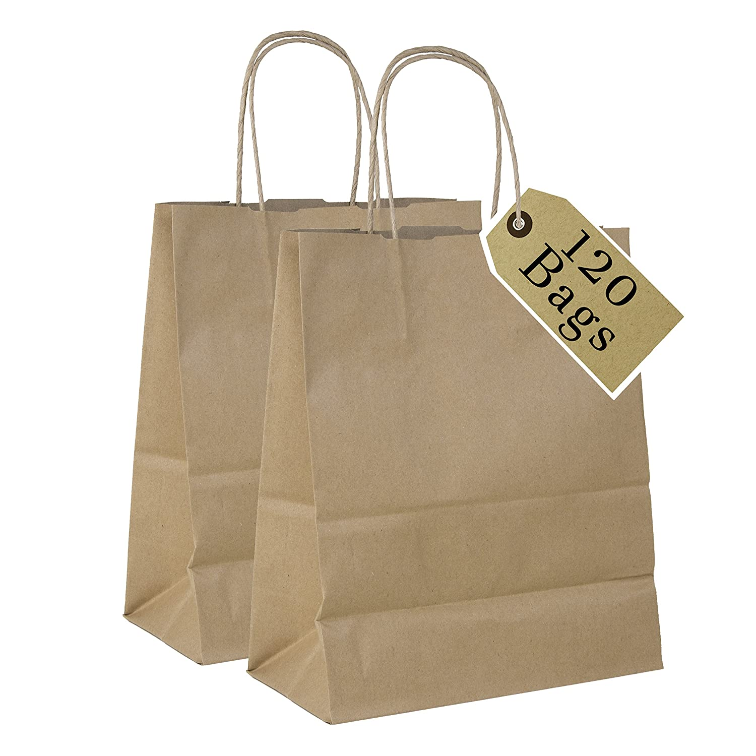 Incredible Packaging- 8 x 5 x 10 White Kraft Paper Bags with Handles for Shopping, Retail and Merchandise. Strong and Reusable -20 Bags Count - 80 Paper Thickness Perfect Present Wrap