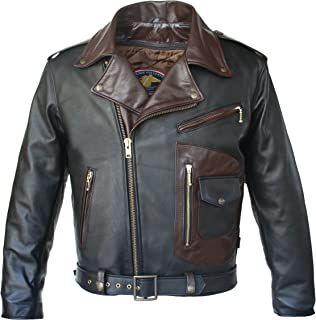 product image for HILLSIDE USA LEATHER INC. Two Tone D Pocket Horsehide Motorcycle Jacket