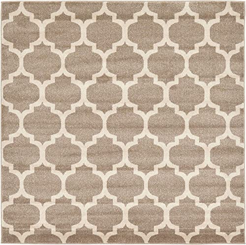 Unique Loom Trellis Collection Moroccan Lattice Tan Square Rug 6 0 x 6 0