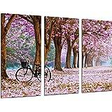 Cuadro Moderno Fotografico Camino Bosque en Otoño, Camino de Flores Rosas, 97 x 62 cm, ref. 26469