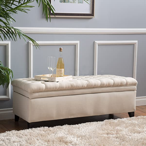 Laguna Tufted Fabric Rectangular Storage Ottoman, Modern Bench for Home Organization, Beige