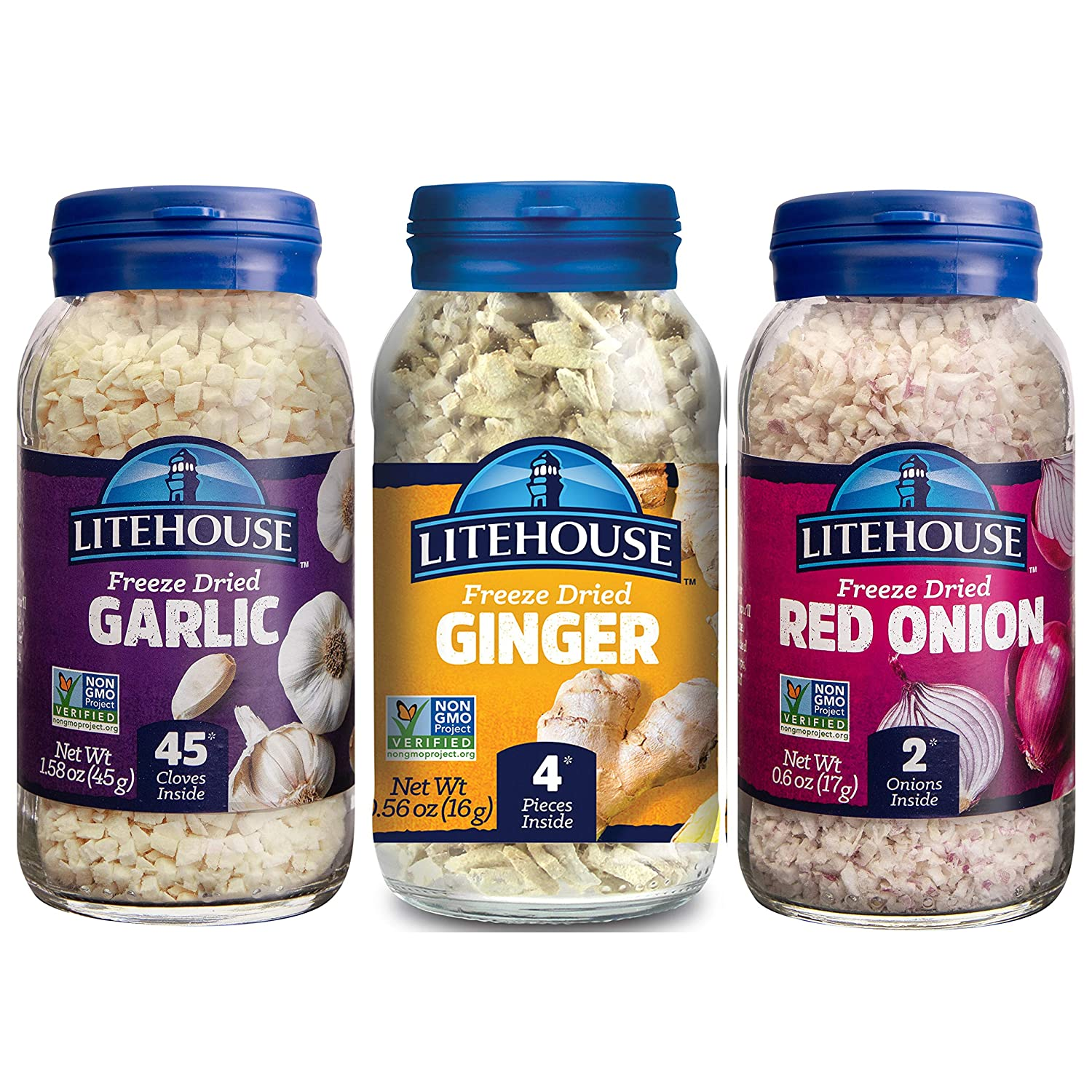Litehouse Freeze-Dried Herbs Flavors of Asia, (Garlic, Red Onion, Ginger), 3-Pack
