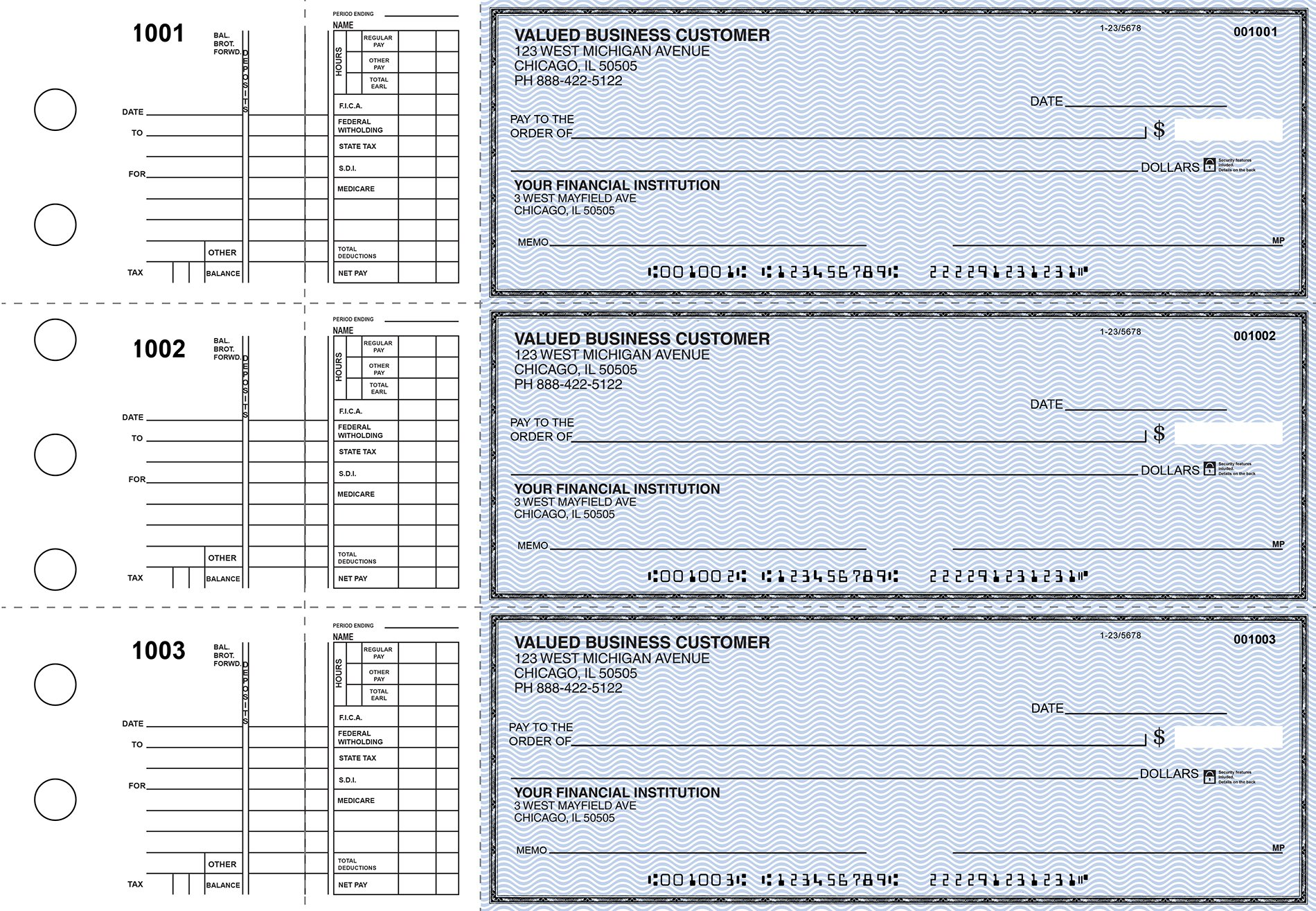 Multi Purpose Business 3 to a Page Checks (Blue Safety (300 Singles))