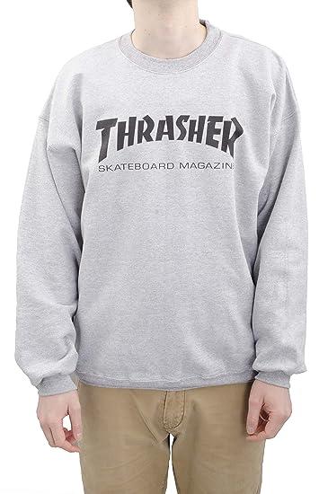 THRASHER Tripulación Skate mag Logo Sudadera - Negro Gris Gris: Amazon.es: Ropa y accesorios