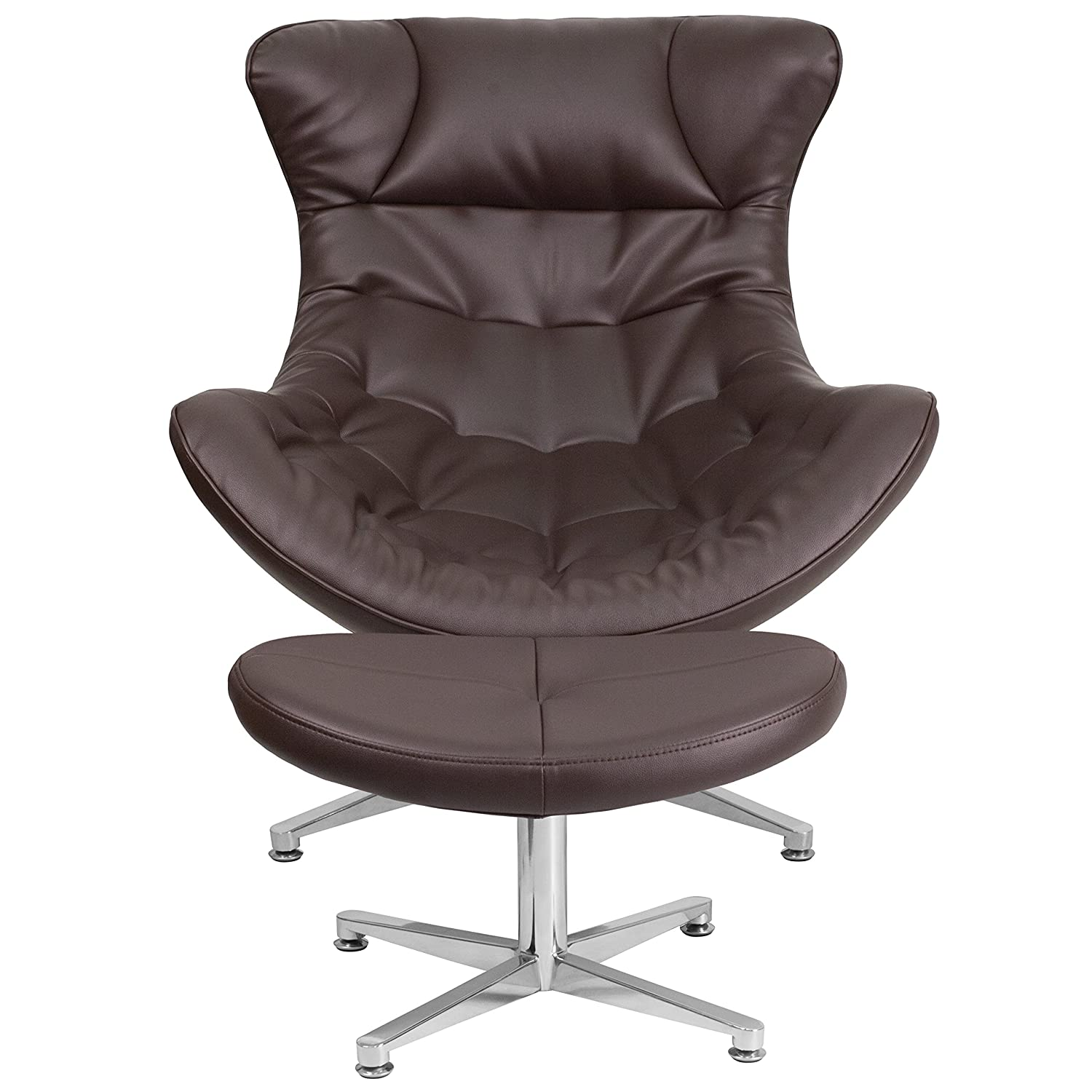 Amazon Flash Furniture Brown Leather Cocoon Chair with