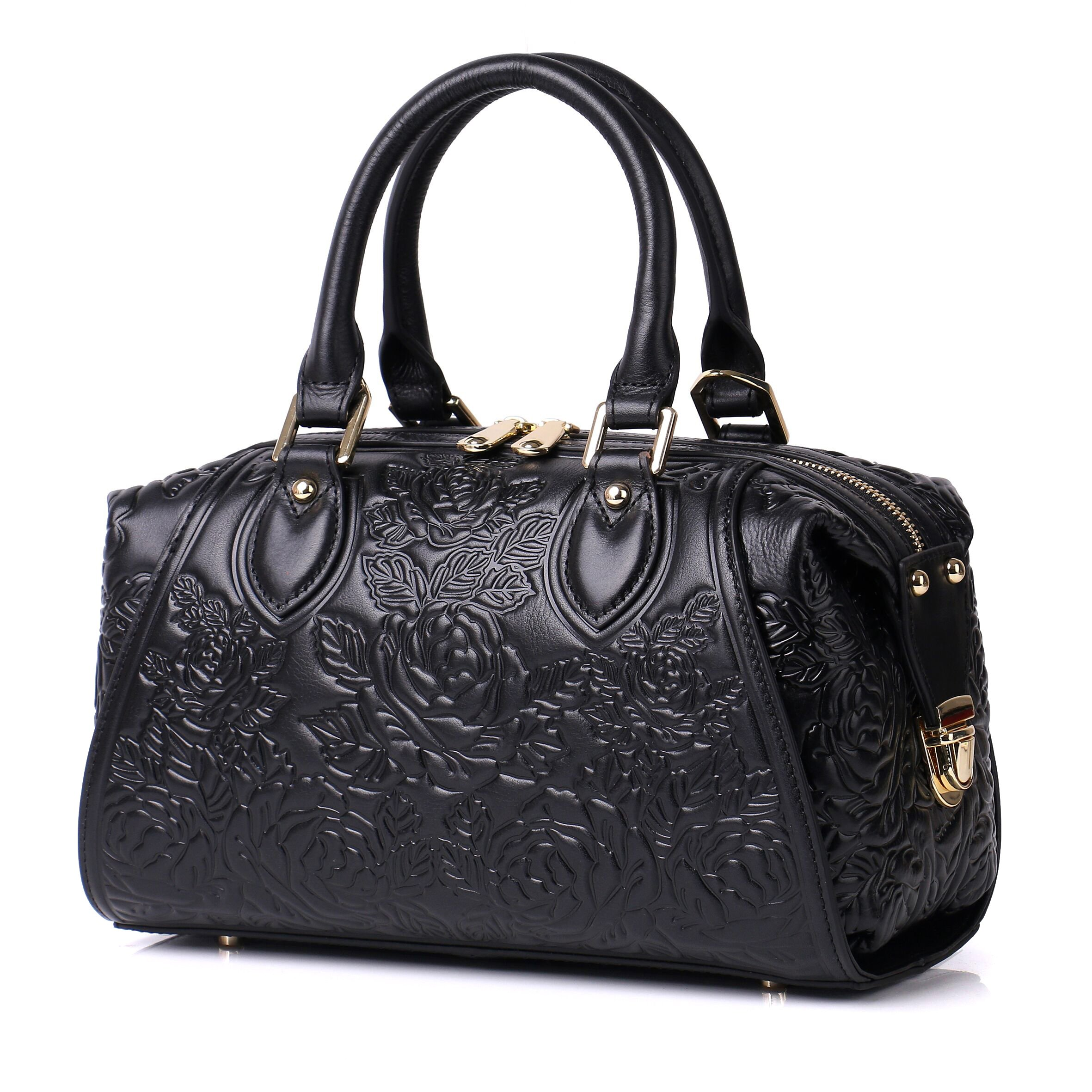 APHISON Designer Unique Embossed Floral Header Layer Cowhide Tote Style Ladies Top Handle Bags Handbags (Black)