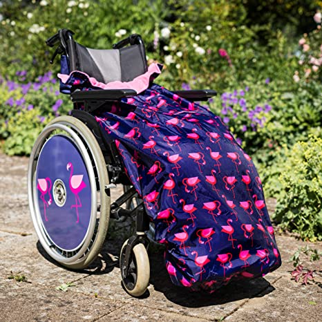 100% Waterproof Fleece Lined Wheelchair Cosy Cover | Universal fit for Manual and Powered wheelchairs | Adult Size (Navy Flamingo)