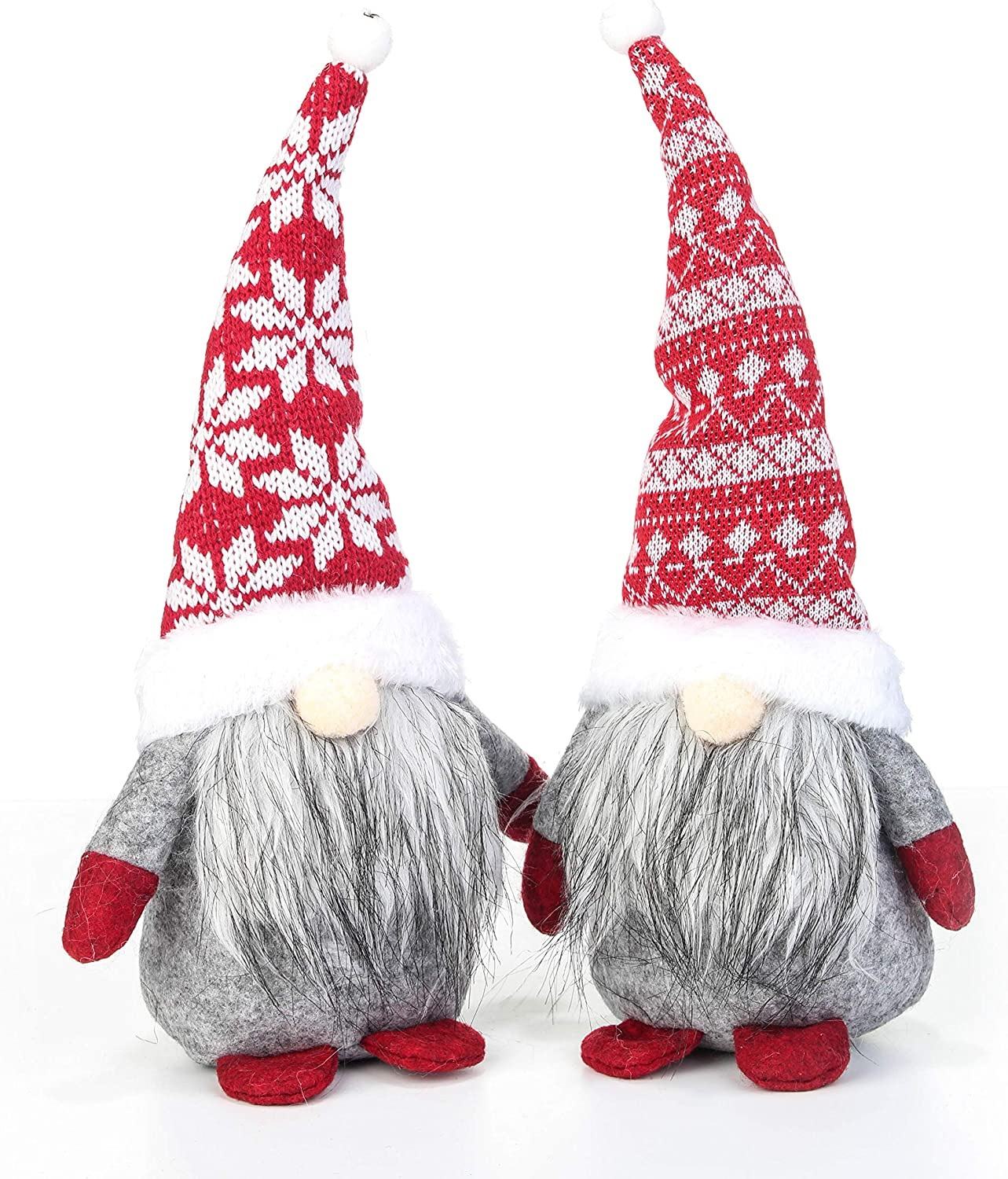Costyleen Handmade Swedish Tomte Scandinavian Christmas Santa Gnome Plush Home Ornaments Table Decor Festival Decoration Xmas Gifts 2pc - Retro Red White Knit Hat 11.4 inches