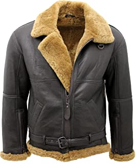 56ea6872837 Infinity Men s Brown RAF Real Shearling Sheepskin Flying Leather Jacket  with Ginger Wool