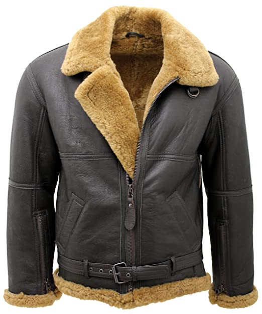 a02650269677 Infinity Men s Brown RAF Real Shearling Sheepskin Flying Leather Jacket  with Ginger Wool