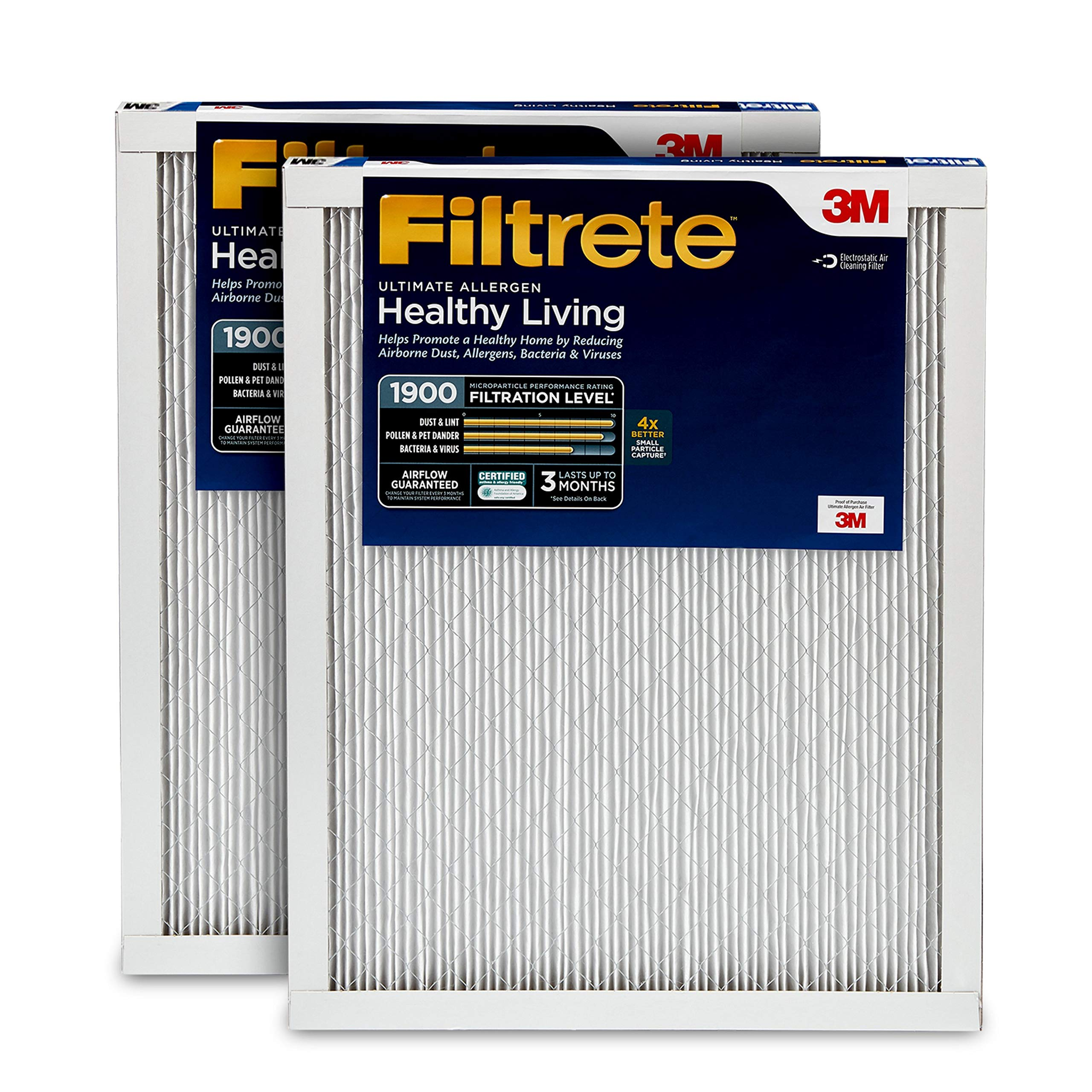 Filtrete 16x25x1, AC Furnace Air Filter, MPR 1900, Healthy Living Ultimate Allergen, 2-Pack by Filtrete