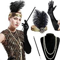 BABEYOND Accessoires Gastby des Année 1920 Costume pour Femme Ensemble d'accessoires Flapper y compris Bandeau Collier Gants et Porte-cigarette, Set 6