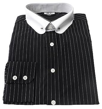 8a27b004fed Pin collar Black white Long Sleeved Vintage Retro Mod Button Down Shirts  S-XXL (XXLarge Collar Size 18-18.5 Underarm to Underarm 25ins)  Amazon.co.uk   ...