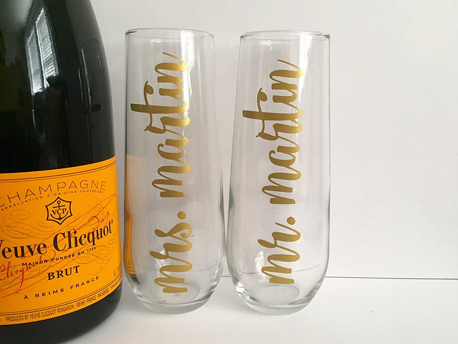 Newlyweds Champagne Flutes Bridal Shower Set of 2 Personalized Mr and Mrs Custom Name Engagement Gift