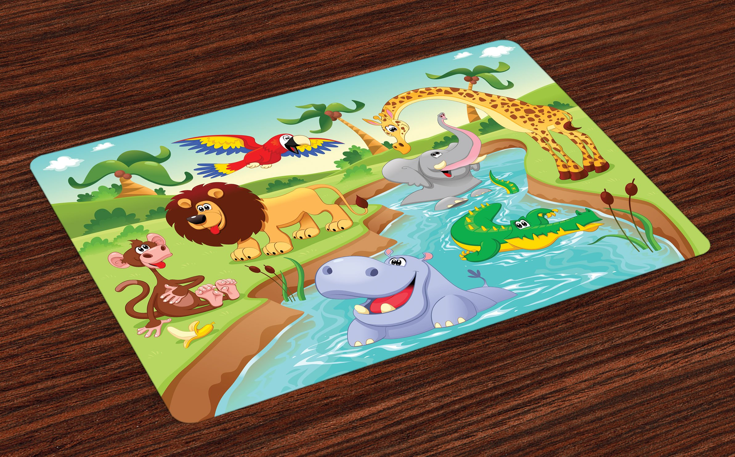 Ambesonne Children Place Mats Set of 4, Cartoon Safari African Animals Swimming in The Lake Elephant Lions and Giraffe Art, Washable Fabric Placemats for Dining Room Kitchen Table Decor, Multicolor