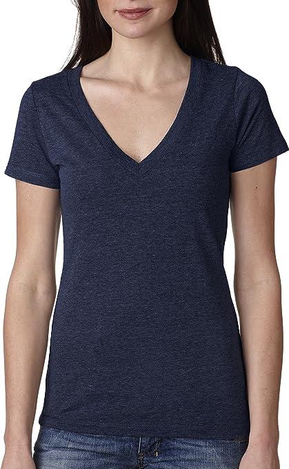 Womens Ladies Next Level Ladies Ideal Cotton Blend Vee V Neck T-Shirt Tee